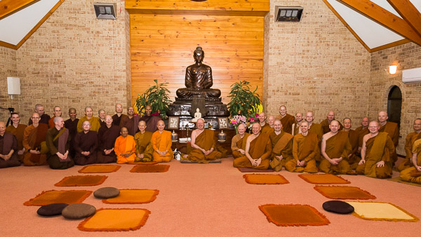 The new nuns with Ajahn Brahm and other monastics at Bodhinyana Monastery.